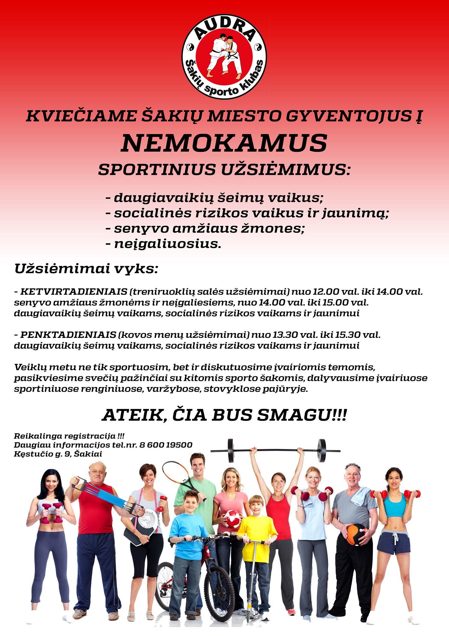 """Kviečiame į NEMOKAMUS užsiėmimus sporto klube """"Audra"""""""